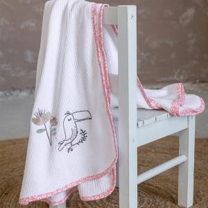 Κουβέρτα Πικέ Αγκαλιάς 80x110cm Nima Toco Toucan Βαμβακερή