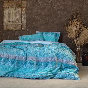 Σεντόνια Υπέρδιπλα Σετ Με Λάστιχο 160x200+32cm Nima Elation Blue Βαμβακερά