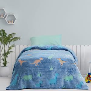 Κουβέρτα Μονή Παιδική Fleece 150x220cm Kocoon Shiny Dinos Πολυέστερας