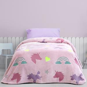 Κουβέρτα Μονή Παιδική Fleece 150x220cm Kocoon Shiny Unicorn Πολυέστερας
