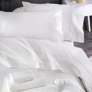 Σεντόνια Νυφικά Σετ 230x260cm 4τχμ Rythmos Katherina Λευκό Βαμβακερά