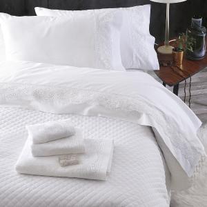 Σεντόνια Νυφικά Σετ 230x260cm 4τχμ Rythmos Shiraz Λευκό Βαμβακερά