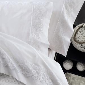 Σεντόνια Νυφικά Σετ 230x260cm 4τχμ Rythmos Nena Λευκό Βαμβακερά