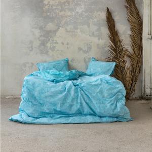 Σεντόνια Υπέρδιπλα Σετ Με Λάστιχο 160x200+32cm Nima Avant Garde Blue Βαμβακερά
