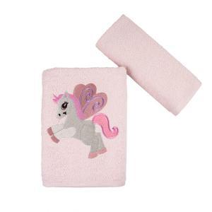 Πετσέτες Παιδικές Σετ 2 Τεμάχια Astron Baby Unicorn Βαμβακερές