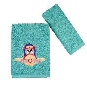Πετσέτες Παιδικές Σετ 2 Τεμάχια Astron Bear & Airplane Βαμβακερές