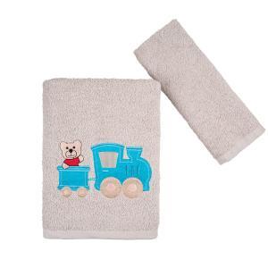 Πετσέτες Παιδικές Σετ 2 Τεμάχια Astron Bear & Train Βαμβακερές