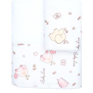 Πετσέτες Παιδικές Σετ 2 τμχ Borea Baby Love Λευκό-Ροζ