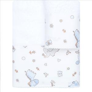 Πετσέτες Παιδικές Σετ 2 τμχ Borea Baby Love Λευκό-Μπλε