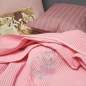 Κουβέρτα Πικέ Κούνιας 100x150cm Melinen Cat Pink Βαμβακερή