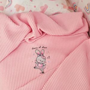 Κουβέρτα Πικέ Κούνιας 100x150cm Melinen Dance Pink Βαμβακερή
