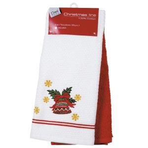 Ποτηρόπανα Σετ 40x60cm Das Home Christmas Kitchen 0585