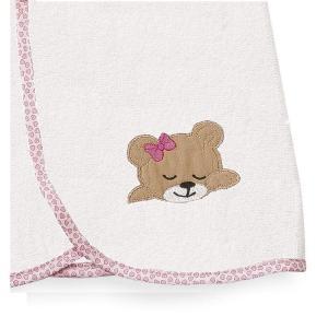 Κάπα Βρεφική 80x80cm Dimcol Sleeping Bear Cubs 12 Λευκό/Ροζ