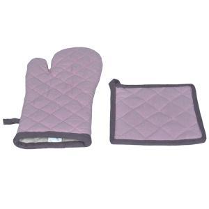 Σετ Κουζίνας Γάντια-Πιάστρα 18x28cm,20x20cm Flamingo Duo Amethyst Βαμβακερό