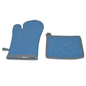 Σετ Κουζίνας Γάντια-Πιάστρα 18x28cm,20x20cm Flamingo Duo Blue Βαμβακερό