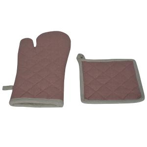 Σετ Κουζίνας Γάντια-Πιάστρα 18x28cm,20x20cm Flamingo Duo Mocca Βαμβακερό