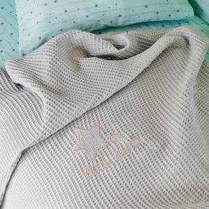Κουβέρτα Πικέ Κούνιας 100x150cm Melinen Little Star Grey Βαμβακερή