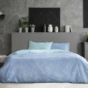 Σεντόνια Υπέρδιπλα Σετ Με Λάστιχο 160x200+30cm Kocoon Mystique Blue Βαμβακερά