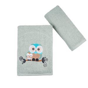Πετσέτες Παιδικές Σετ 2 Τεμάχια Astron Owls Βαμβακερές