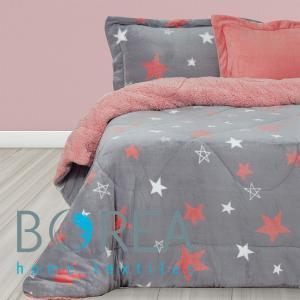 Κουβερτοπάπλωμα Μονό 160x220cm Borea Little Star Ροζέ