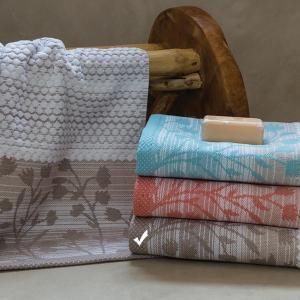 Πετσέτα Προσώπου 50x100cm Bomdia Prestige PT176 Λευκό-Μπεζ