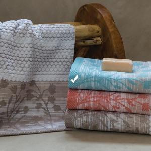 Πετσέτα Προσώπου 50x100cm Bomdia Prestige PT176 Λευκό-Γαλάζιο