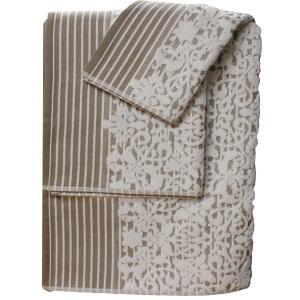 Πετσέτα Προσώπου 50x100cm Bomdia Prestige PT179  Λευκό-Μπεζ