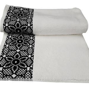 Πετσέτα Σώματος Bomdia Prestige Λευκό-Μαύρο