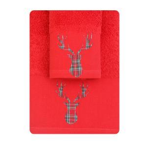 Πετσέτες σετ 2τμχ Χριστουγεννιάτικες Borea CR-7 Κόκκινο