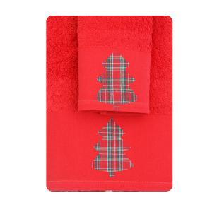 Πετσέτες σετ 2τμχ Χριστουγεννιάτικες Borea CR-8 Κόκκινο