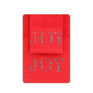 Πετσέτες σετ 2τμχ Χριστουγεννιάτικες Borea CR-9 Κόκκινο