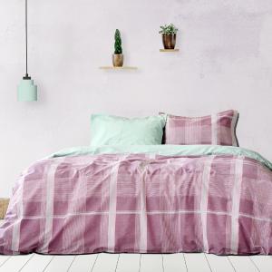 Σεντόνια Υπέρδιπλα Σετ Με Λάστιχο 160x200+30cm Kocoon Plaid Purple Βαμβακερά
