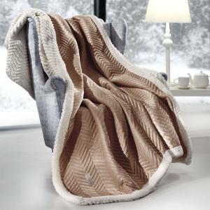 Ριχτάρι 130x170cm σετ με μαξιλάρι Guy Laroche Velluto Camel