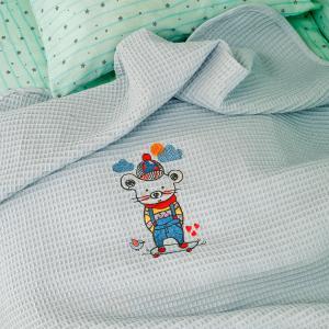 Κουβέρτα Πικέ Κούνιας 100x150cm Melinen Skater Siel Βαμβακερή