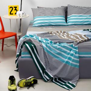 Σεντόνια Μονά Σετ 160x260cm Melinen Ultra Stripemania Green