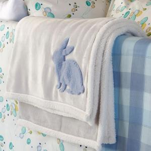 Κουβέρτα Flannel Κούνιας 110x140cm Melinen Rabbit Blue