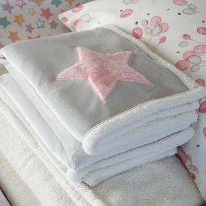 Κουβέρτα Flannel Κούνιας 110x140cm Melinen Star Pink