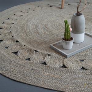 Στρογγυλό Χαλί Καλοκαιρινό Φ150 Nima Carpets Makrame Light Grey