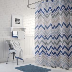 Κουρτίνα Μπάνιου180x200cm + Πατάκι 50x70cm Σετ Corner Zig-Zag Polyester